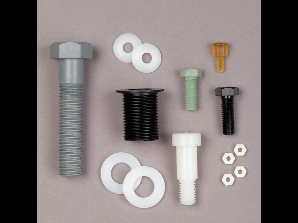 Several types of plastic parts.