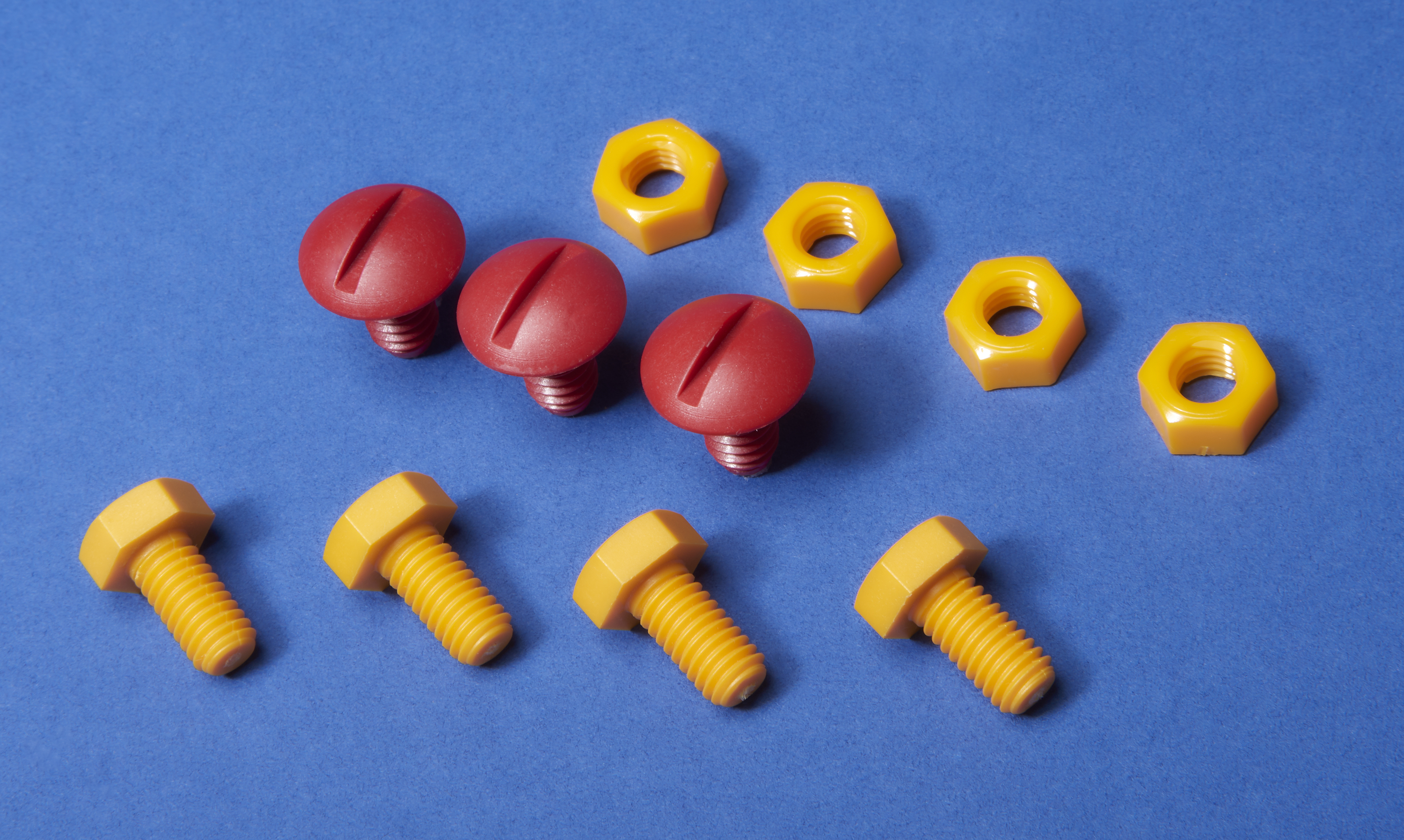 Nylon screws and hex nuts